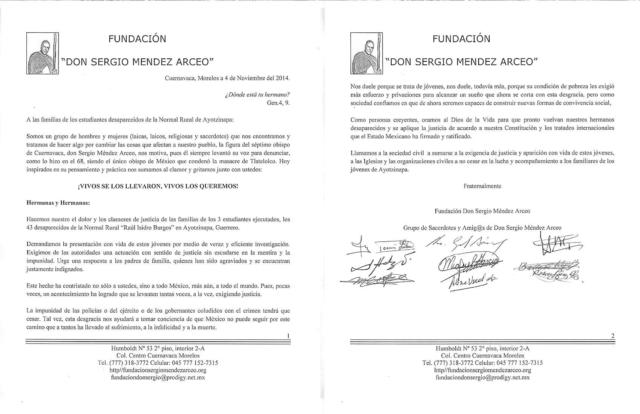 Carta de Apoyo a Normalistas de Ayotzinapa y sus familiares.